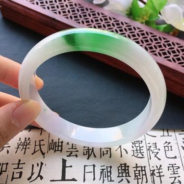 翡翠細糯種陽綠正圈手鐲58mm