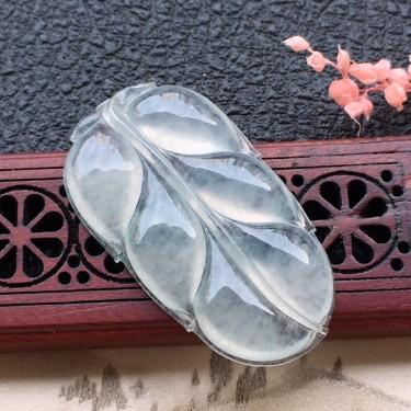 翡翠冰種葉子吊墜