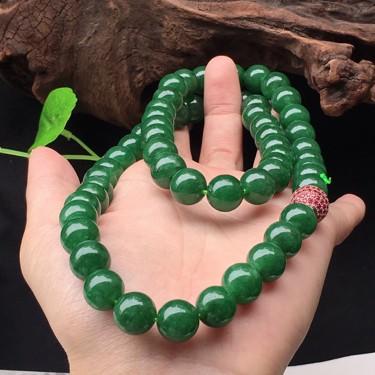 翡翠細糯種油青綠圓珠項鏈