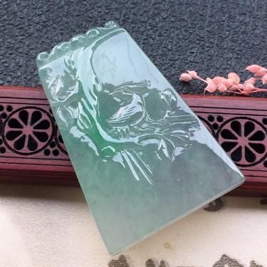 翡翠糯冰种淡绿鸟语花香吊坠