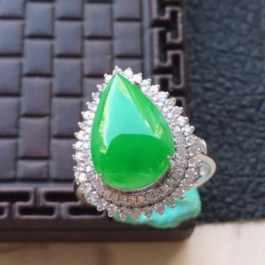 翡翠17圈口18k金伴鉆鑲嵌糯冰種滿綠水滴戒指