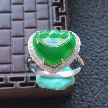 翡翠16圈口18k金伴鉆鑲嵌細糯種滿綠如意戒指
