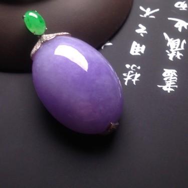 糯冰種紫羅蘭鑲白金鉆石胸墜翡翠