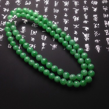 冰种满绿项链翡翠