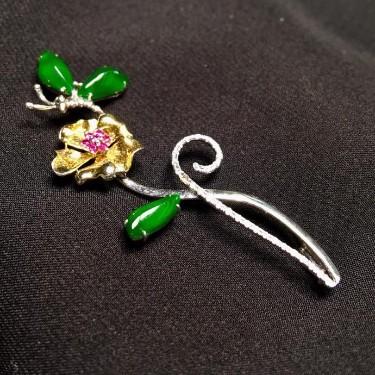 冰種陽綠鑲白金鉆石胸針/胸墜兩用款翡翠