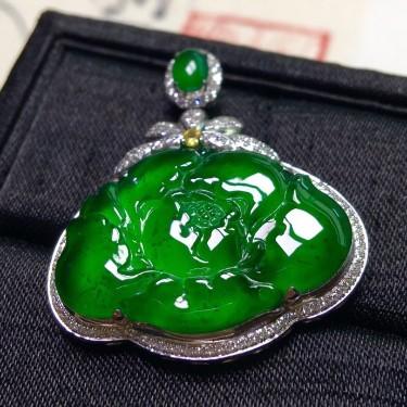 冰種陽綠鑲白金鉆石花開富貴胸墜翡翠