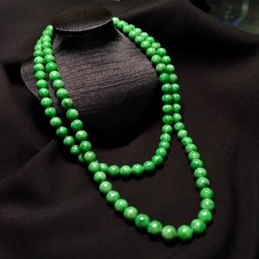 细糯种满绿珠串翡翠