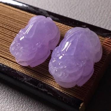 冰種紫羅蘭貔貅掛件一對翡翠