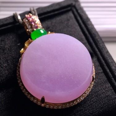 冰種紫羅蘭鑲玫瑰金鉆石平安扣胸墜翡翠