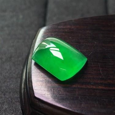 冰种阳绿方戒面镶嵌件翡翠