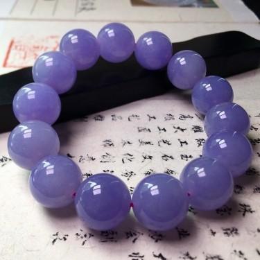 冰種紫羅蘭手串翡翠
