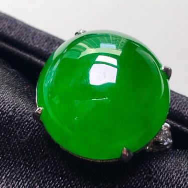 冰種滿綠鑲白金鉆石戒指翡翠