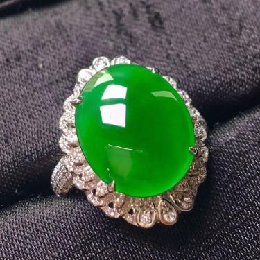 冰种满绿镶白金钻石两用款翡翠
