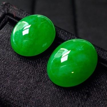 冰種滿綠蛋面鑲嵌件翡翠