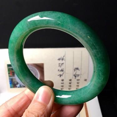 细糯种豆色圆条手镯(56.5mm)翡翠