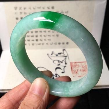 细糯种飘阳绿手镯(56.5mm)翡翠