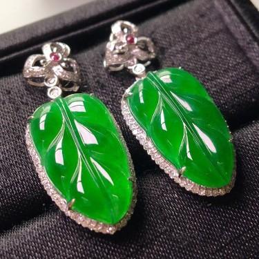 冰种满绿镶白金钻石金枝玉叶耳坠翡翠