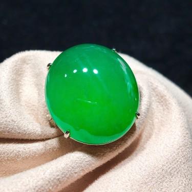 冰种阳绿戒指翡翠