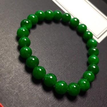 细糯种浓绿手链翡翠