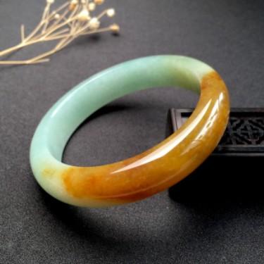 翡翠细糯种黄翡正圈手镯58mm
