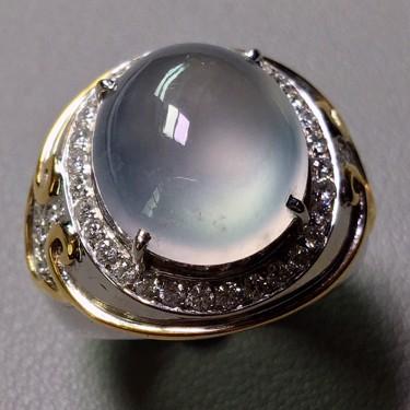 冰种无色镶白金钻石戒指(男戒)翡翠