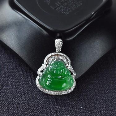 冰种满绿镶白金钻石玉佛翡翠胸坠