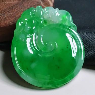 冰種陽綠仿古龍貝
