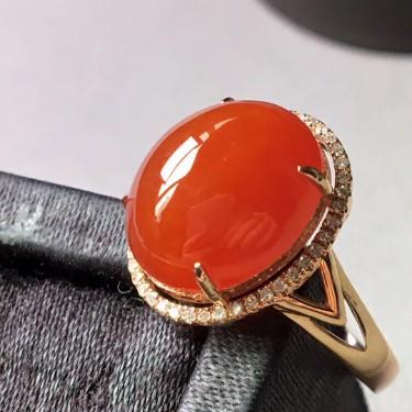 冰糯種紅翡18k金鑲鉆石戒指翡翠