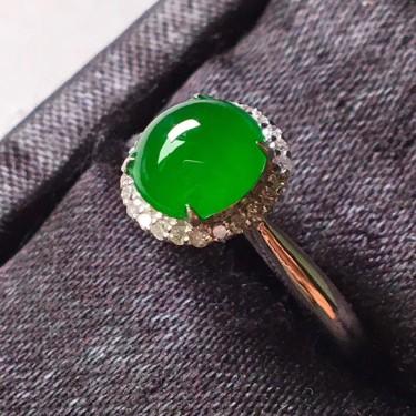 冰種陽綠18k金鑲鉆石戒指翡翠