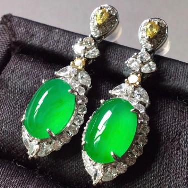 冰陽綠18k金鑲鉆石+彩寶耳墜翡翠