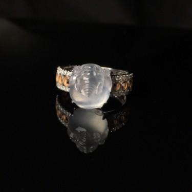 18K金高冰种招财貔貅戒指