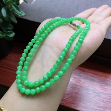 冰种阳绿圆珠项链