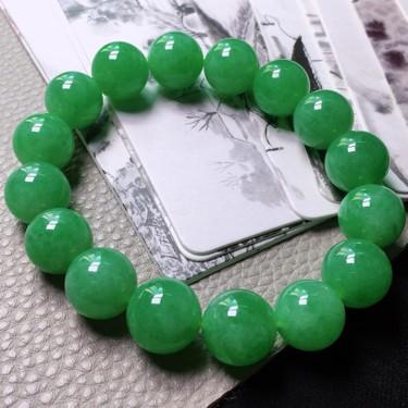 糯冰种满绿圆珠手串(16颗)翡翠