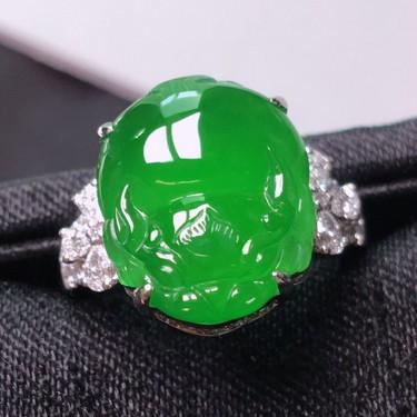 冰种满绿镶白金钻石貔貅戒指 翡翠