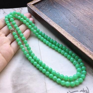 缅甸翡翠细糯种带绿圆珠项链