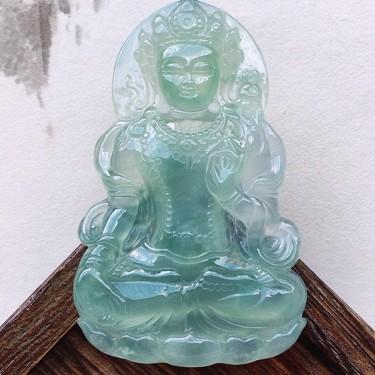 缅甸翡翠冰种大件保平安观音吊坠(顶珠为装饰珠)