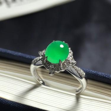 糯冰种满绿戒指