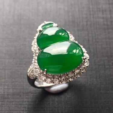 (超值推荐)镶白金钻石冰种正阳绿翡翠葫芦戒指/挂件两用款