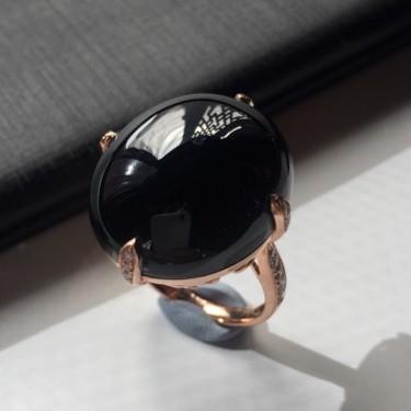 (超值推荐)镶18k金伴钻冰种墨翠翡翠戒指
