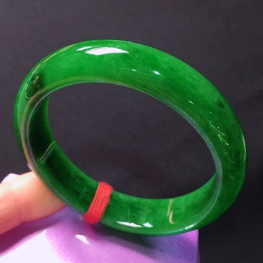 糯冰种满绿手镯(55mm)翡翠