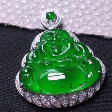 冰种满绿镶白金钻石玉佛胸坠翡翠