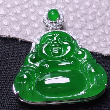 冰满绿镶白金钻石玉佛胸坠翡翠