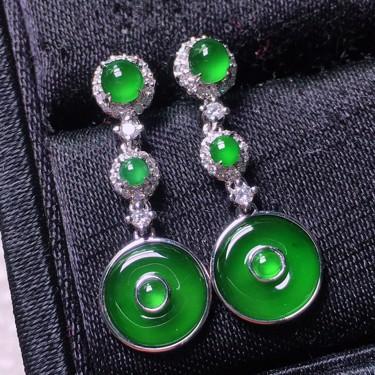 冰玻种阳绿镶白金钻石平安扣耳坠翡翠