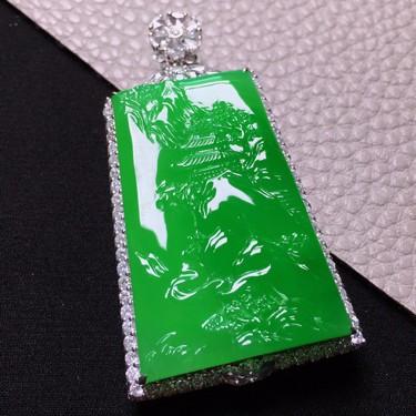 冰種陽綠鑲白金鉆石山水牌胸墜翡翠