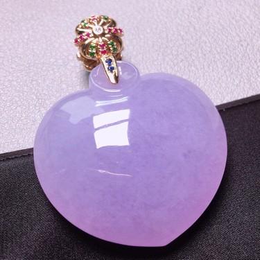 冰種紫羅蘭鑲白金鉆石心心相印掛件翡翠