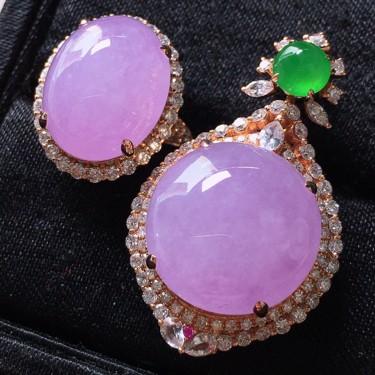冰種紫羅蘭鑲玫瑰金鉆石胸墜、戒指一套翡翠