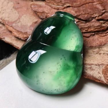 天然翡翠A货高冰种浓绿葫芦镶嵌件