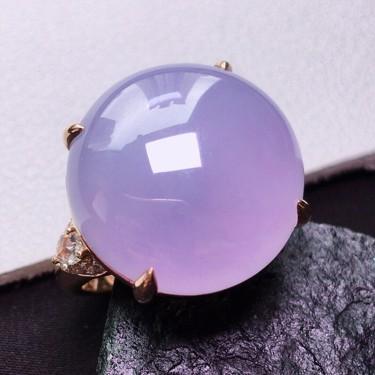 冰种紫罗兰镶玫瑰金钻石戒指翡翠