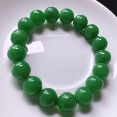 糯冰种浓绿珠子(17颗)手串翡翠