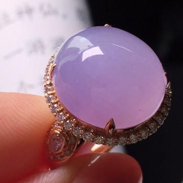冰種紫羅蘭鑲玫瑰金鉆石戒指翡翠